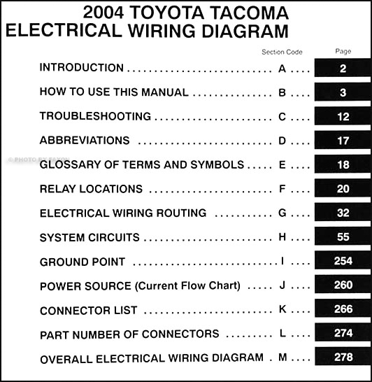 2004ToyotaTacomaWD TOC 2004 toyota tacoma pickup wiring diagram manual original 2012 toyota tacoma wiring diagram at soozxer.org