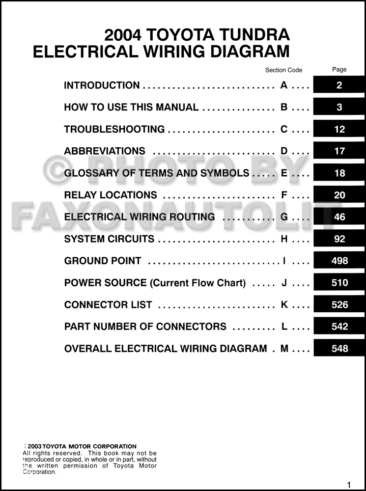 2004 Toyota Tundra Wiring Diagram Manual Original