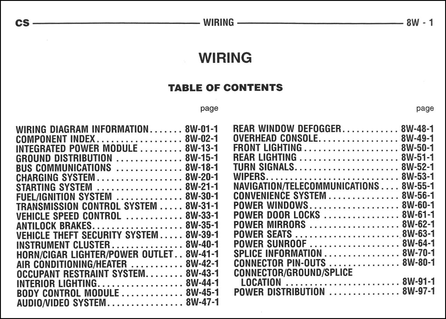 2005 Chrysler Pacifica Wiring Diagram Manual Original. Table of Contents Page
