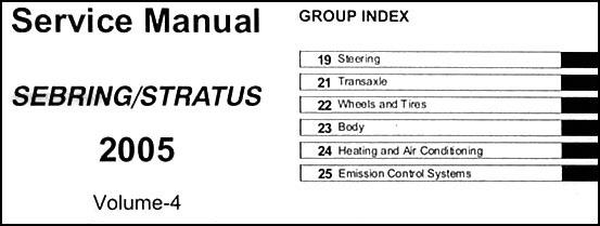 2005 sebring sedan  u0026 convertible  stratus sedan repair shop manual original