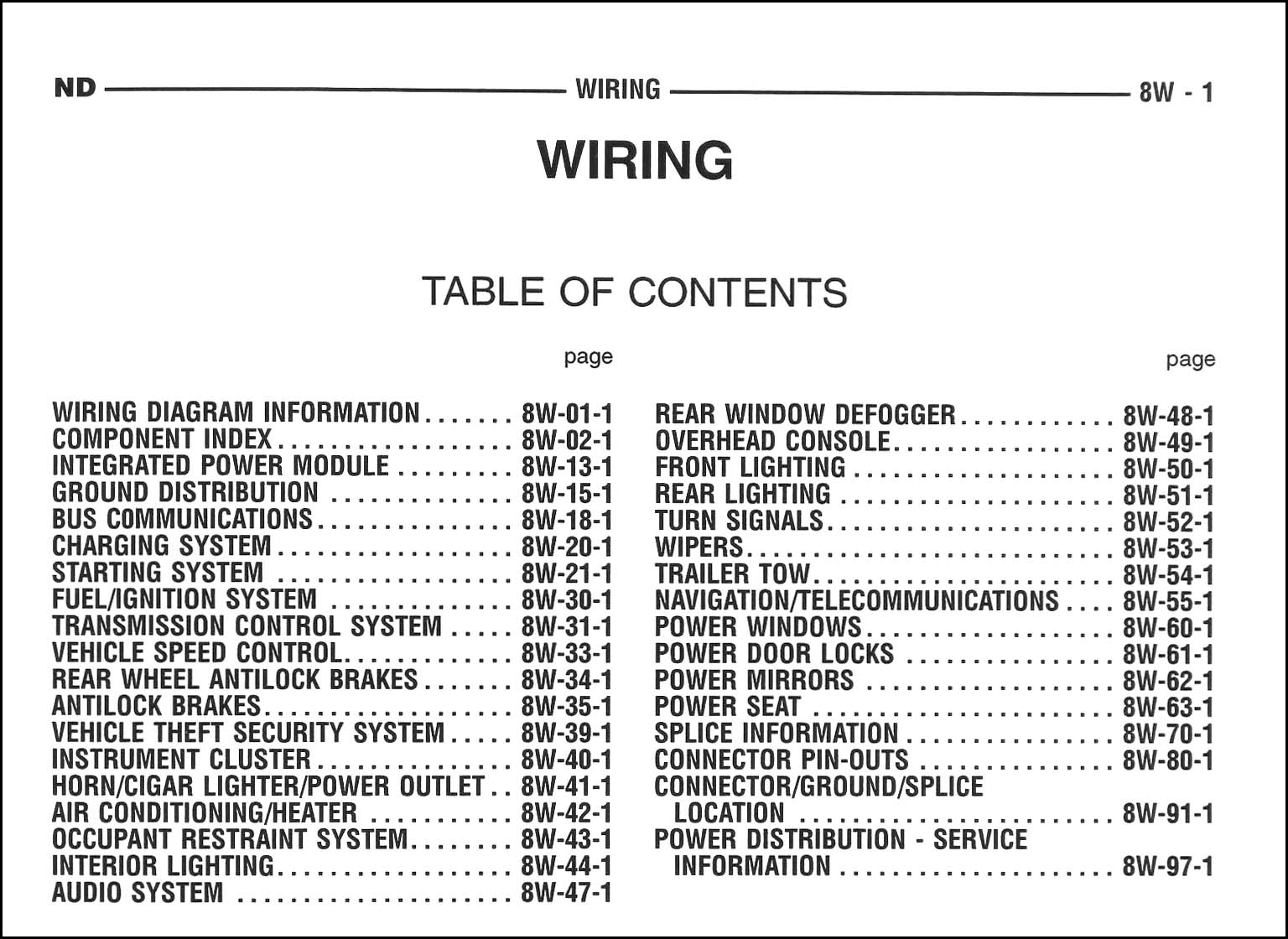 2005DodgeDakotaOWD TOC 2005 dodge durango wiring diagram manual original 1999 dodge durango wiring diagram at gsmx.co