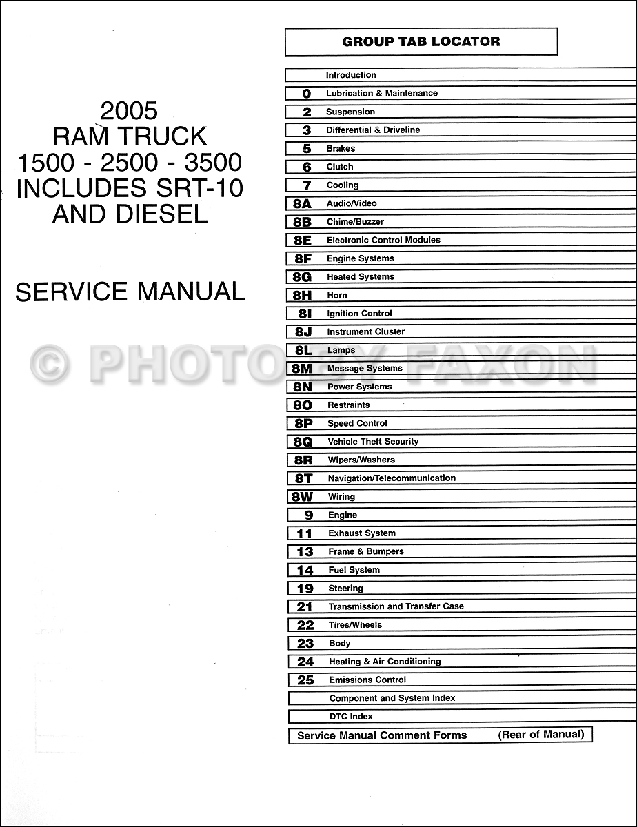2005 dodge ram truck repair shop manual 10 vol set factory reprint rh faxonautoliterature com 2001 Dodge Dakota Manual 1995 Dodge Stratus Manual