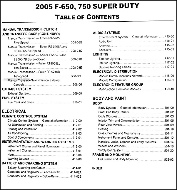 2005FordF 650ORM TOC2 2005 ford f650 f750 medium truck repair shop manual original 2004 ford f650 fuse box diagram at cos-gaming.co