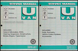 2005 gm uplander terraza montana sv6 repair shop manual 2 vol set rh faxonautoliterature com 2005 Uplander Parts 2005 Uplander Interior