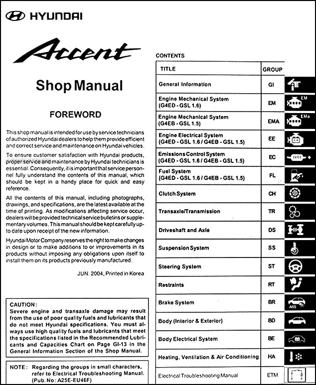 2005 hyundai accent repair shop manual original rh faxonautoliterature com Hyundai Elantra Parts Diagram Hyundai Elantra Parts Diagram