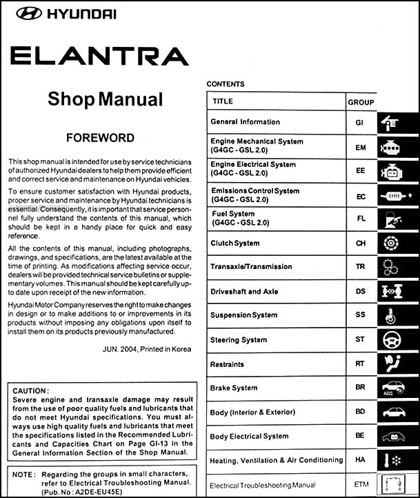 Beautiful 2005 Hyundai Elantra Repair Shop Manual Original Rh Faxonautoliterature Com Hyundai  Elantra Repair Manual Hyundai Elantra Owners Manual 2016
