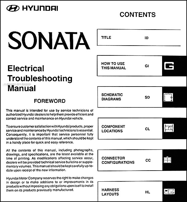 2005 hyundai sonata electrical troubleshooting manual original