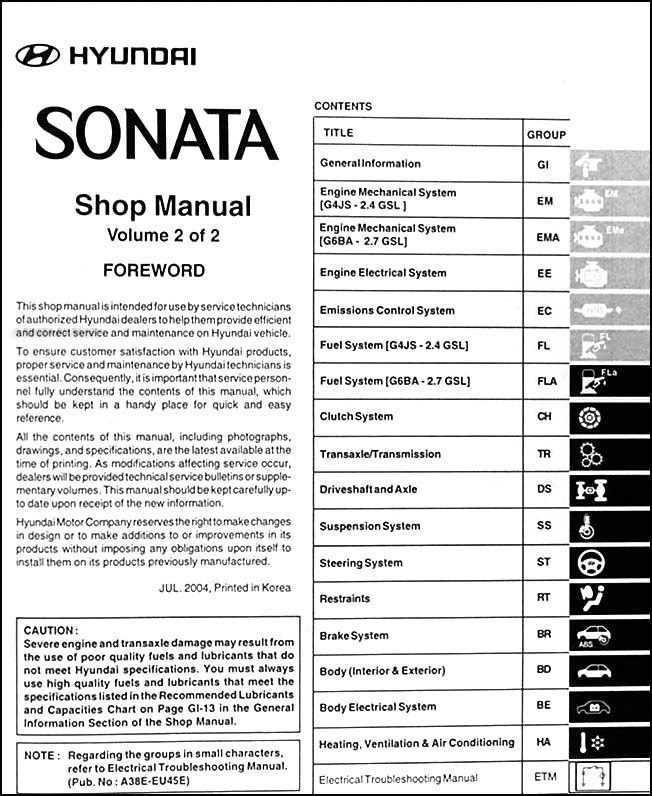 2005HyundaiSonataORM TOC2 2005 hyundai sonata repair shop manual original 2 volume set 2005 hyundai sonata wiring diagram at soozxer.org