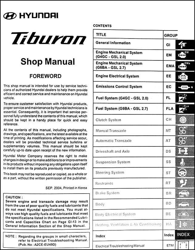 2005 hyundai tiburon repair shop manual original 2 vol set rh faxonautoliterature com 2008 hyundai tiburon repair manual 2001 hyundai tiburon repair manual free download