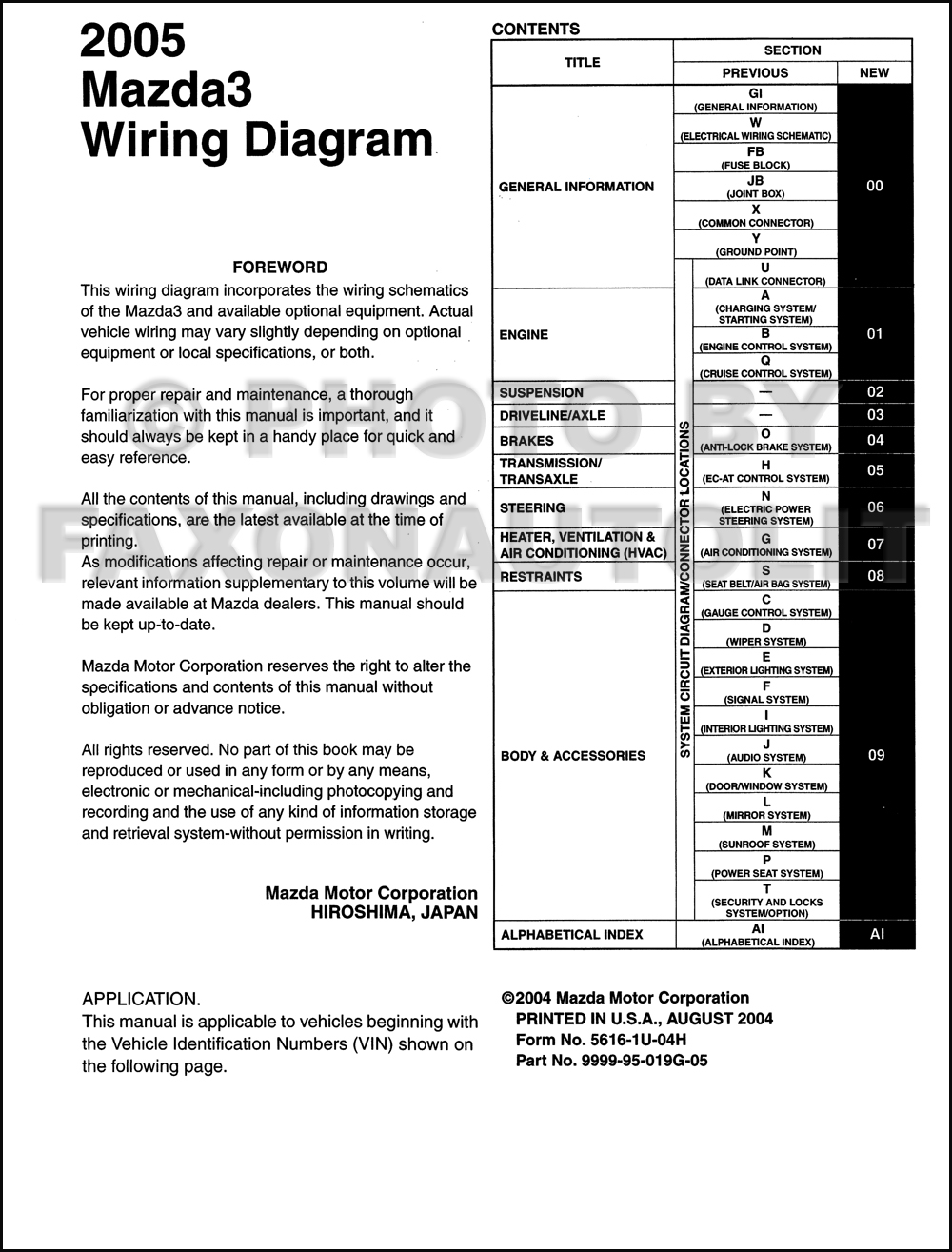 2005Mazda3OWD TOC 2005 mazda 3 wiring diagram manual original 2005 mazda 3 wiring diagram at virtualis.co