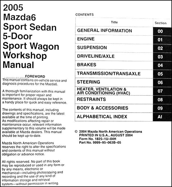 2005 Mazda6 Repair Shop Manual Original