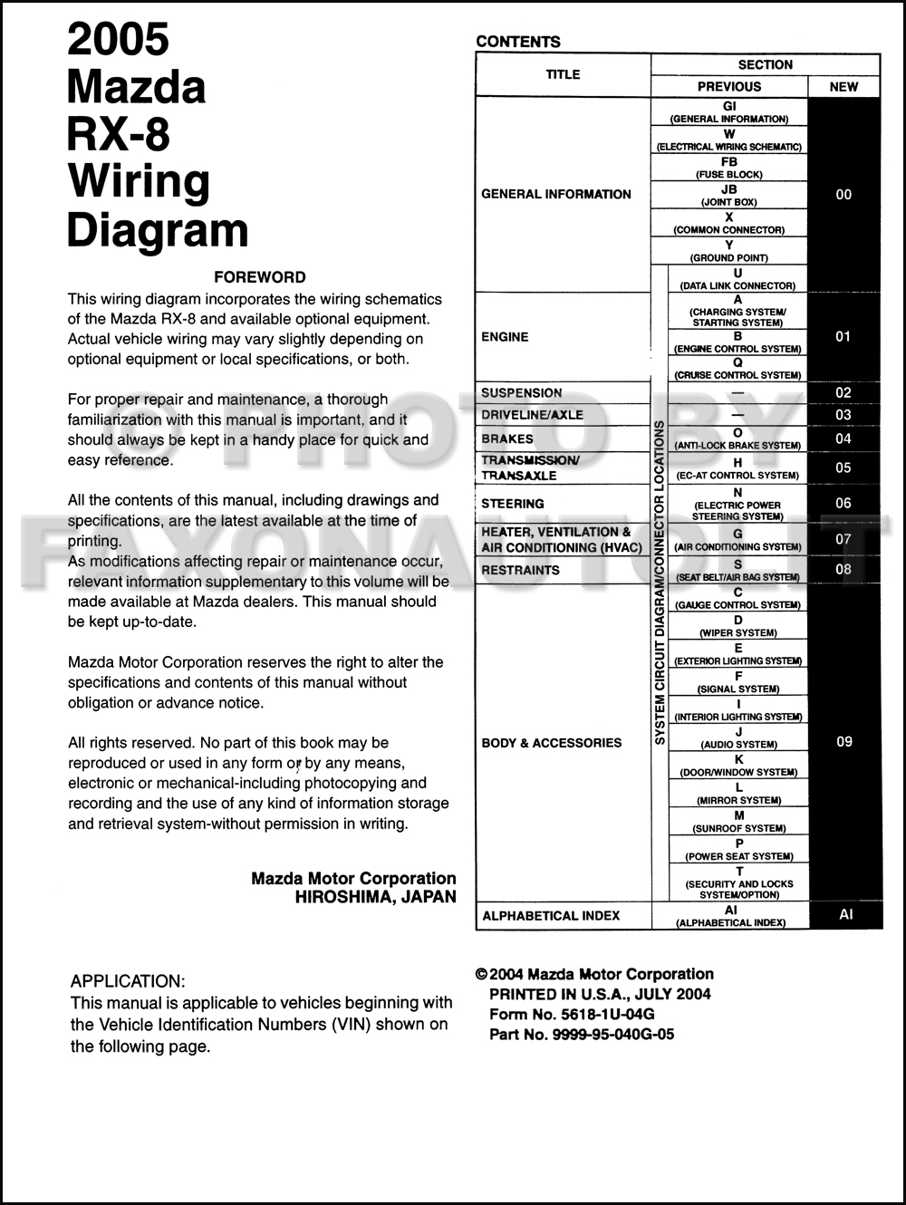 2005 Mazda    RX8       Wiring       Diagram    Manual Original    RX8