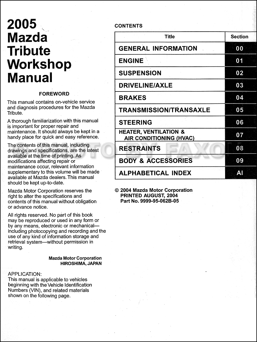 2005 Mazda Tribute Repair Shop Manual Original