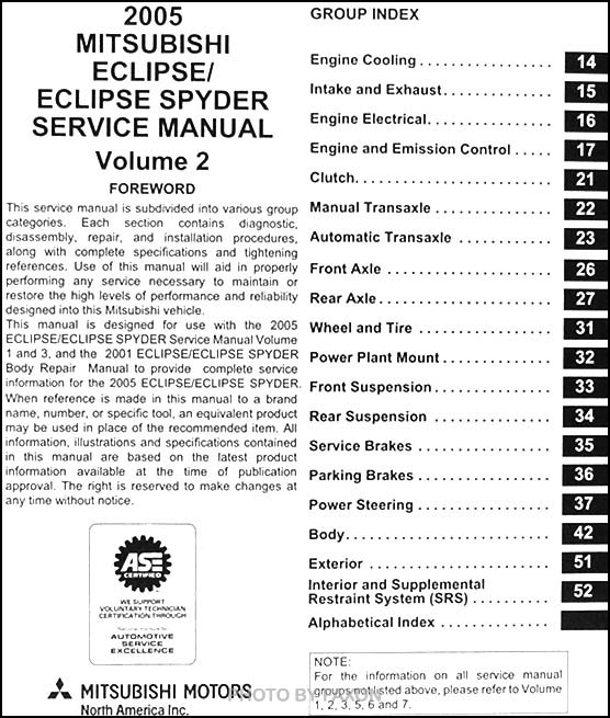 2005MitsuEclipseSpyderORM TOC2 2005 mitsubishi eclipse and spyder original repair shop manual 3 2001 mitsubishi eclipse radio wiring diagram at soozxer.org