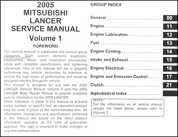2005 mitsubishi lancer repair shop manual original 2 volume set rh faxonautoliterature com 2014 lancer ralliart owners manual 2005 lancer ralliart repair manual