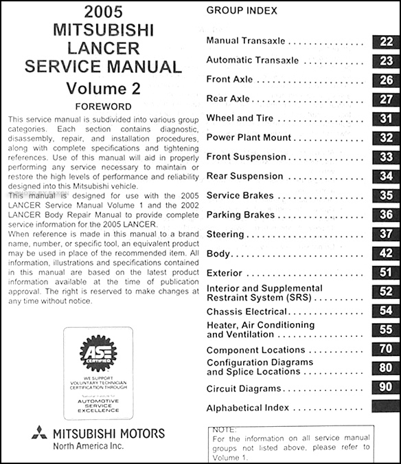2005 Mitsubishi Lancer Wiring Diagram Manual Original : Mitsubishi lancer repair shop manual original
