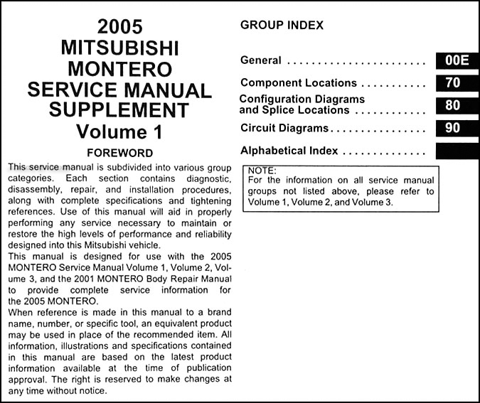 2005MitsubishiMonteroETM TOC 2005 mitsubishi montero wiring diagram manual original 2002 mitsubishi montero sport wiring diagram at n-0.co