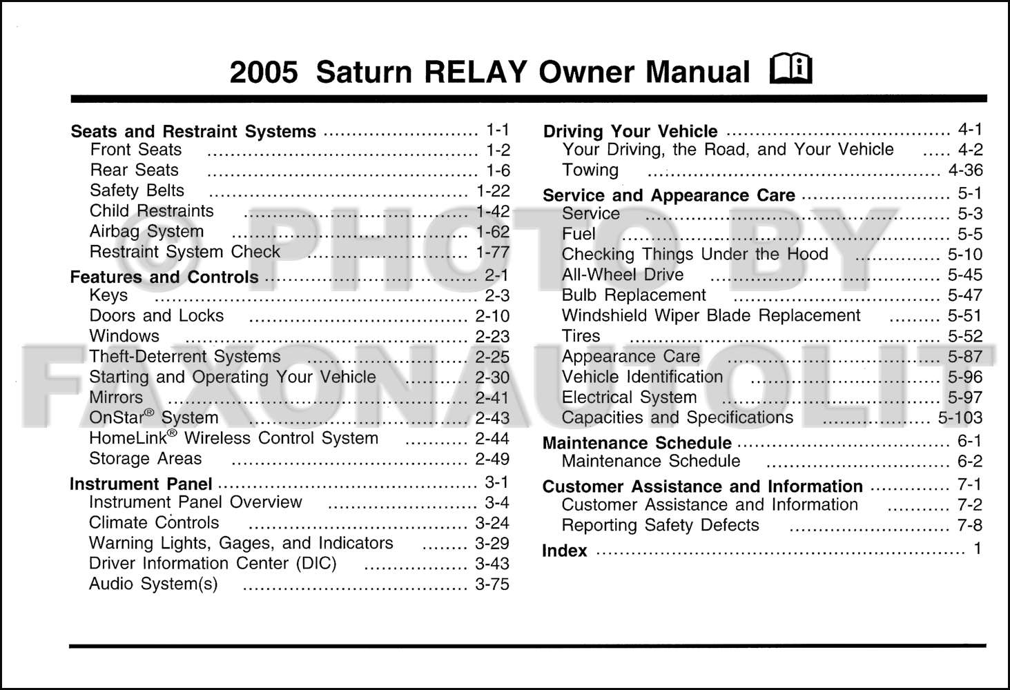 2005 Saturn Relay Diagram Wiring Diagrams Fuse Box Owner S Manual Original Location