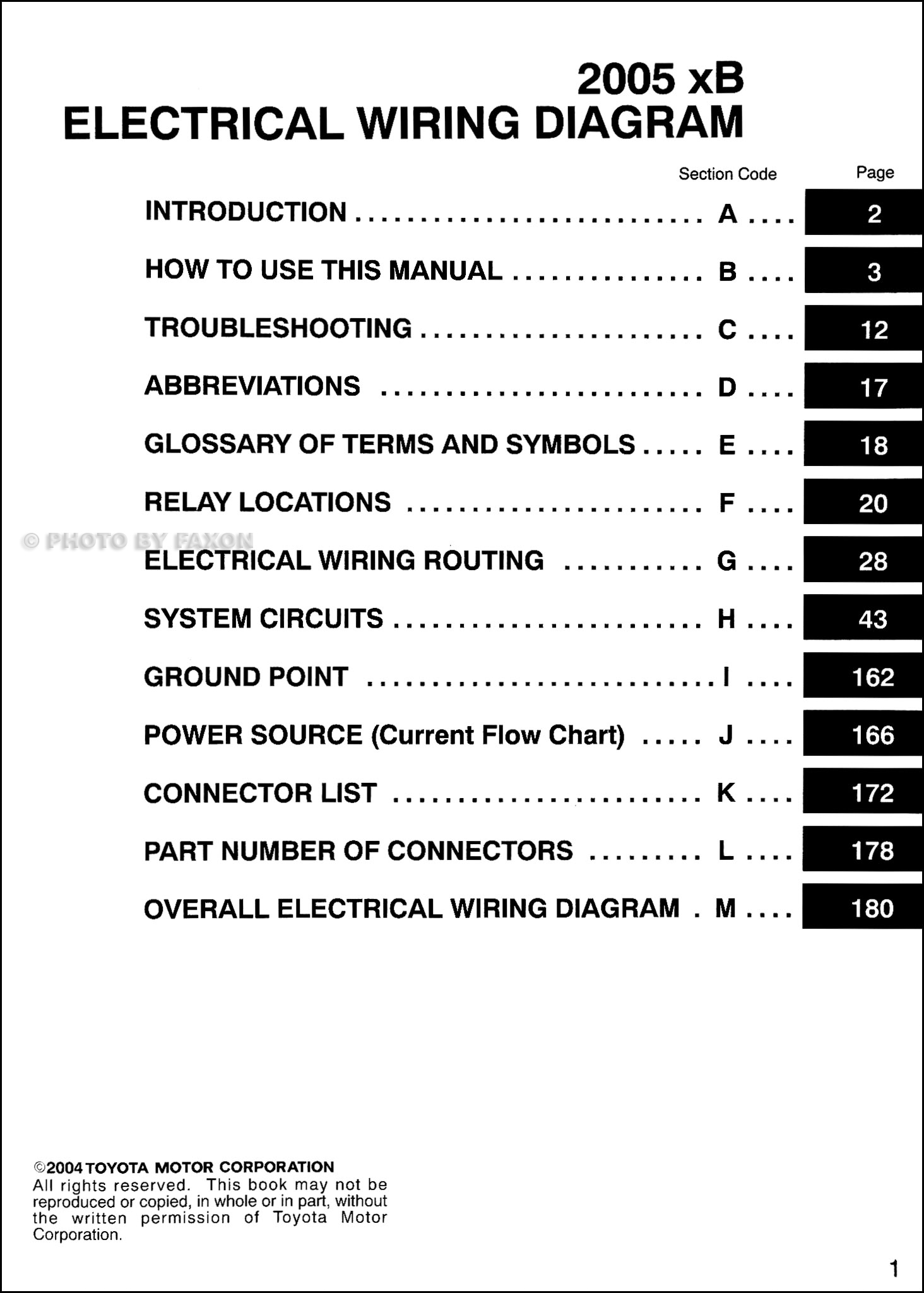 2005ScionxBOWD TOC 2005 scion xb wiring diagram manual original 2006 scion xb wiring diagram at bayanpartner.co