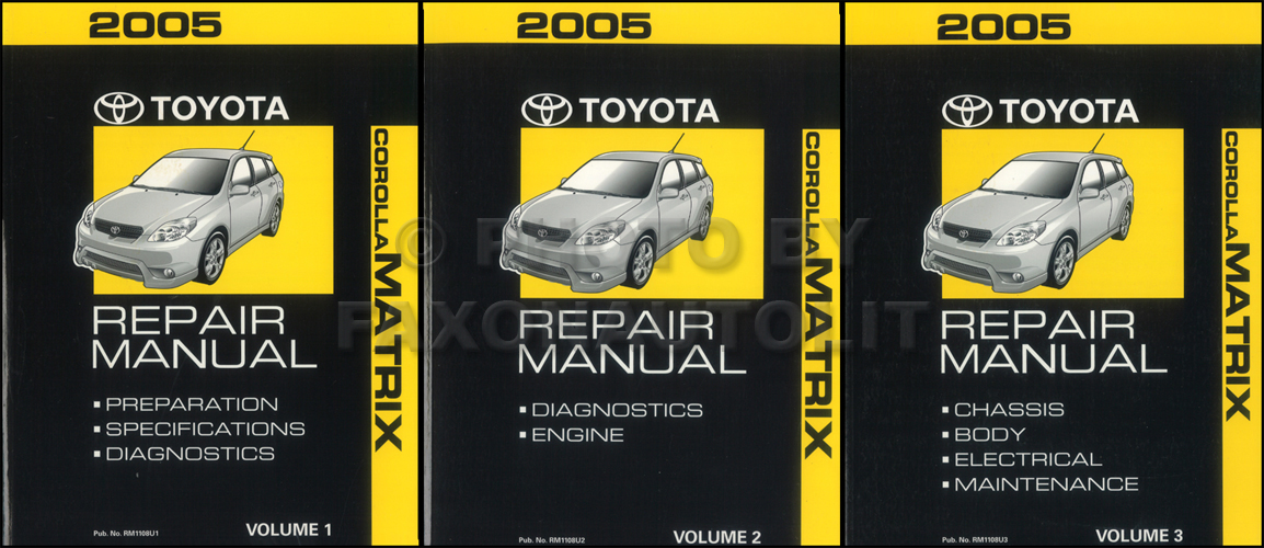 2005 toyota corolla matrix wiring diagram manual original 2005 toyota matrix repair shop manual original 3 volume set 289 00