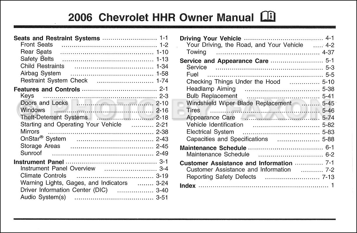 2006 Chevrolet Hhr Owner U0026 39 S Manual Original