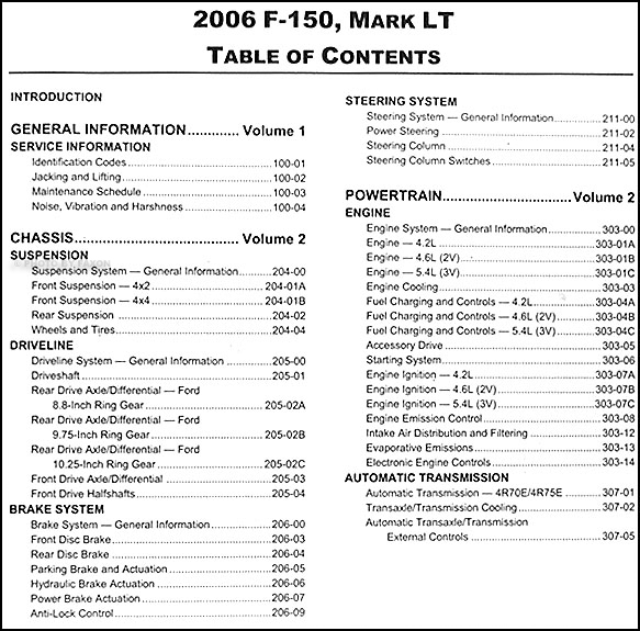 2006 ford f 150 lincoln mark lt repair shop manual 2 volume set table of contents page 1 publicscrutiny Choice Image