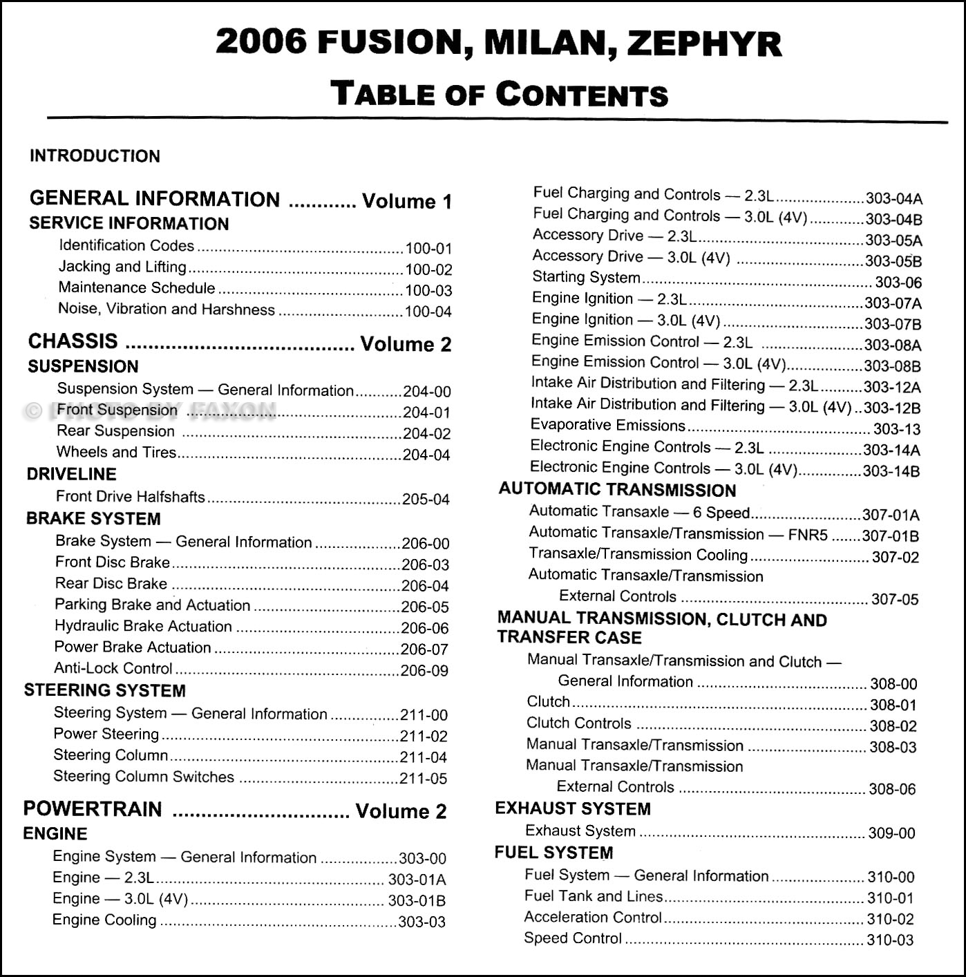 2006FordFusionORMSet TOC1 2006 ford fusion mercury milan lincoln zephyr repair shop manual 2 06 ford fusion fuse box diagram at nearapp.co