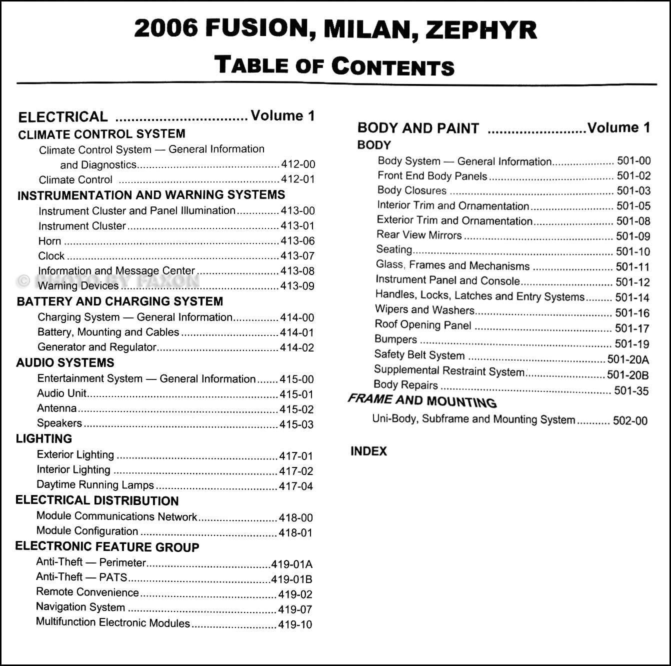 2006FordFusionORMSet TOC2 2006 ford fusion mercury milan lincoln zephyr repair shop manual 2 2006 ford fusion wiring diagram at bayanpartner.co