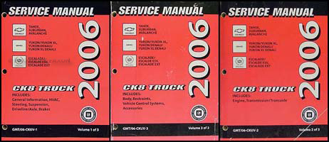 2006 ck suv repair shop manual set avalanche suburban tahoe denali rh faxonautoliterature com 2006 gmc yukon xl repair manual 2008 Yukon