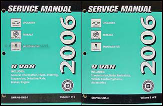2006 gm uplander terraza montana sv6 repair shop manual 2 vol set rh faxonautoliterature com 2002 Pontiac Montana 2006 pontiac montana sv6 repair manual