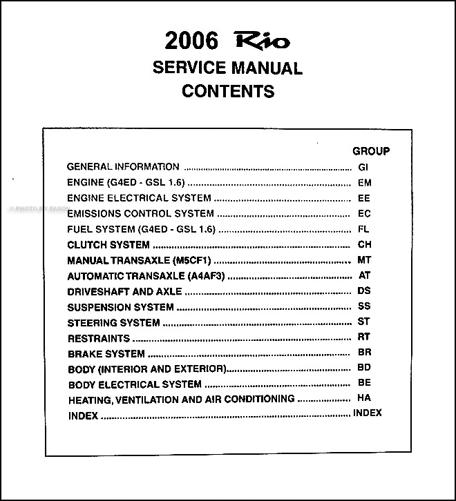 2006 kia rio repair shop manual original 2 vol set. Black Bedroom Furniture Sets. Home Design Ideas