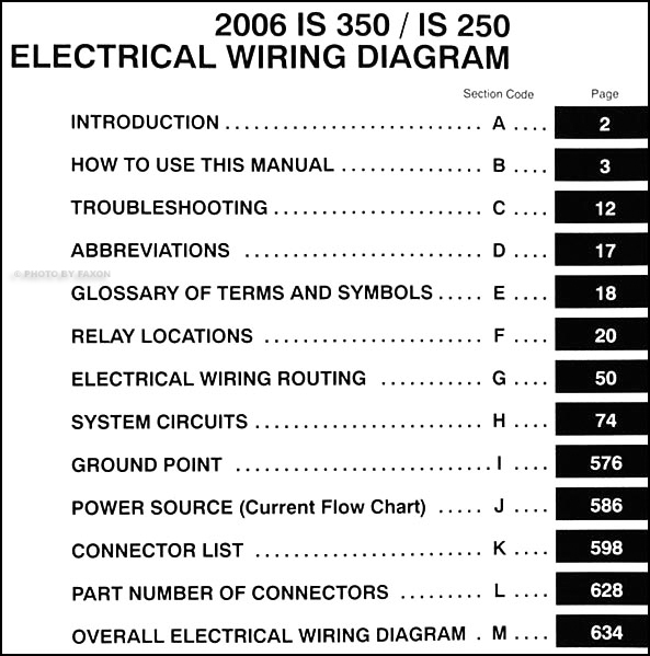 2006LexusISEWD TOC 2006 lexus is 350 and 250 wiring diagram manual original 2007 lexus is 250 wiring diagram at arjmand.co