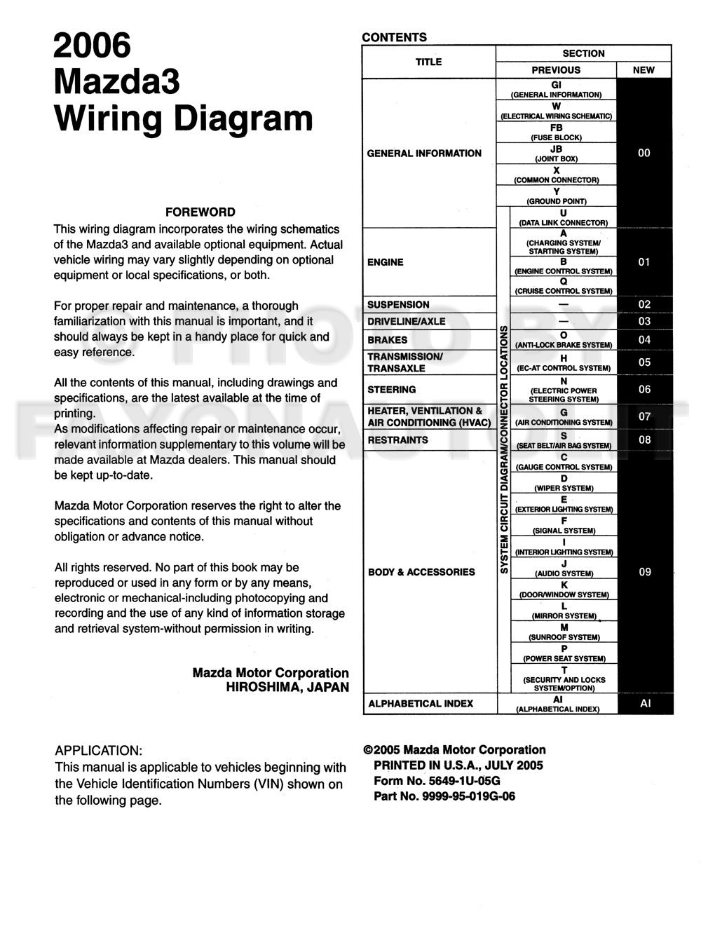 Mazda wiring diagram original
