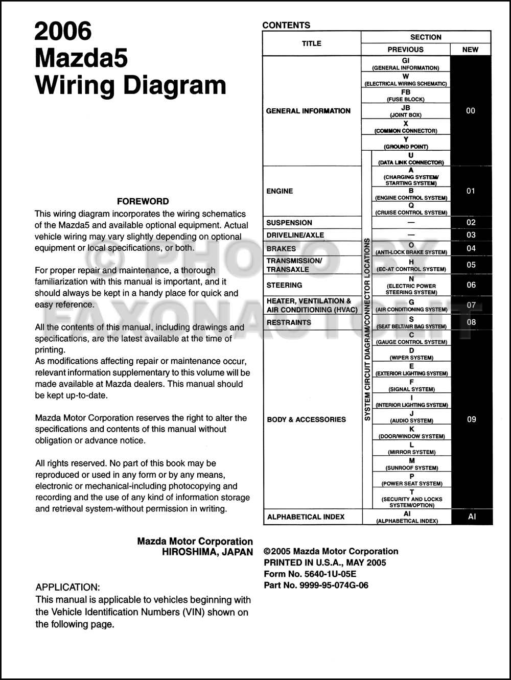 2006 mazda 5 wiring diagram manual original. Black Bedroom Furniture Sets. Home Design Ideas