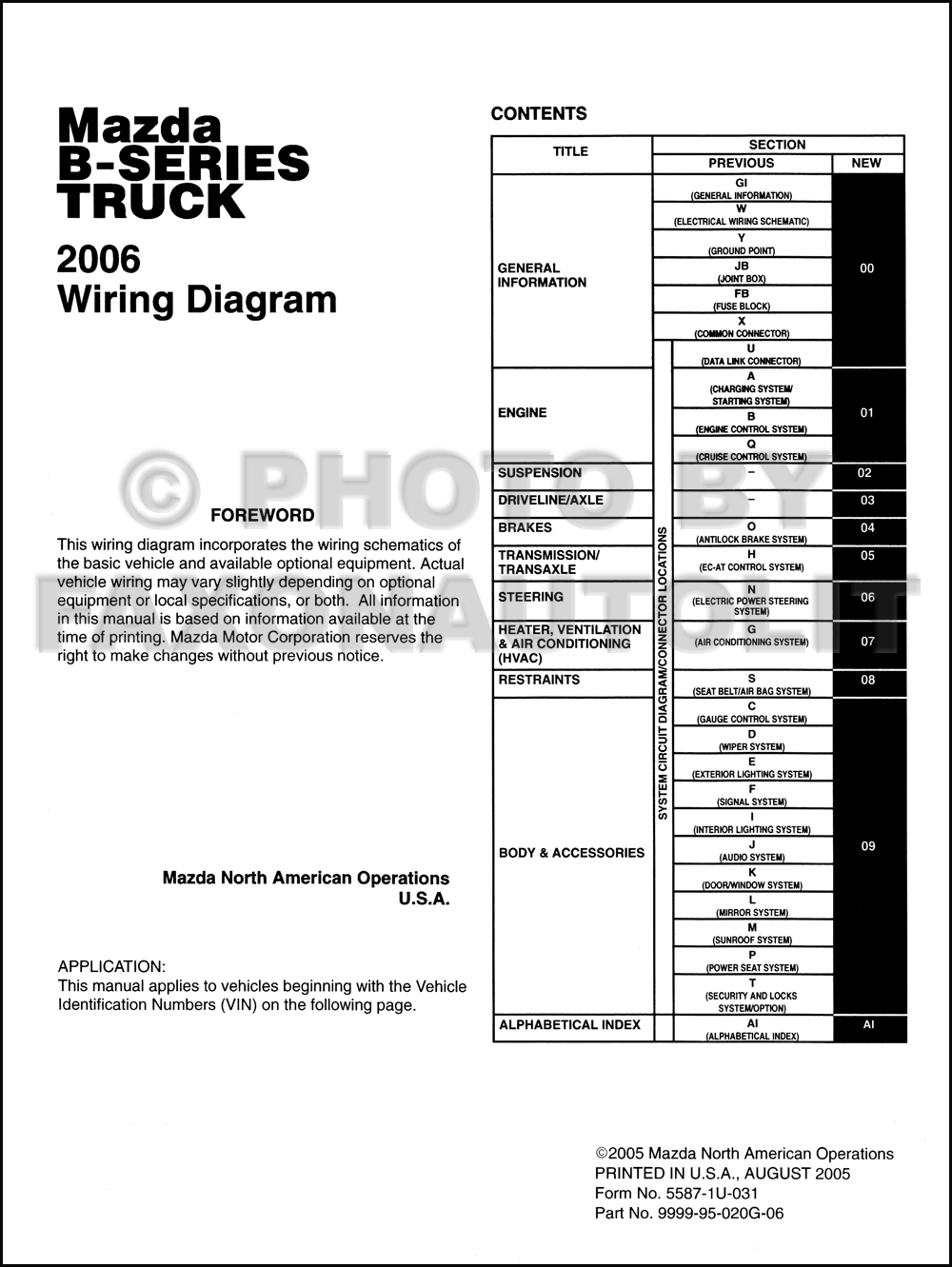 2006 mazda b series pickup truck wiring diagram manual. Black Bedroom Furniture Sets. Home Design Ideas