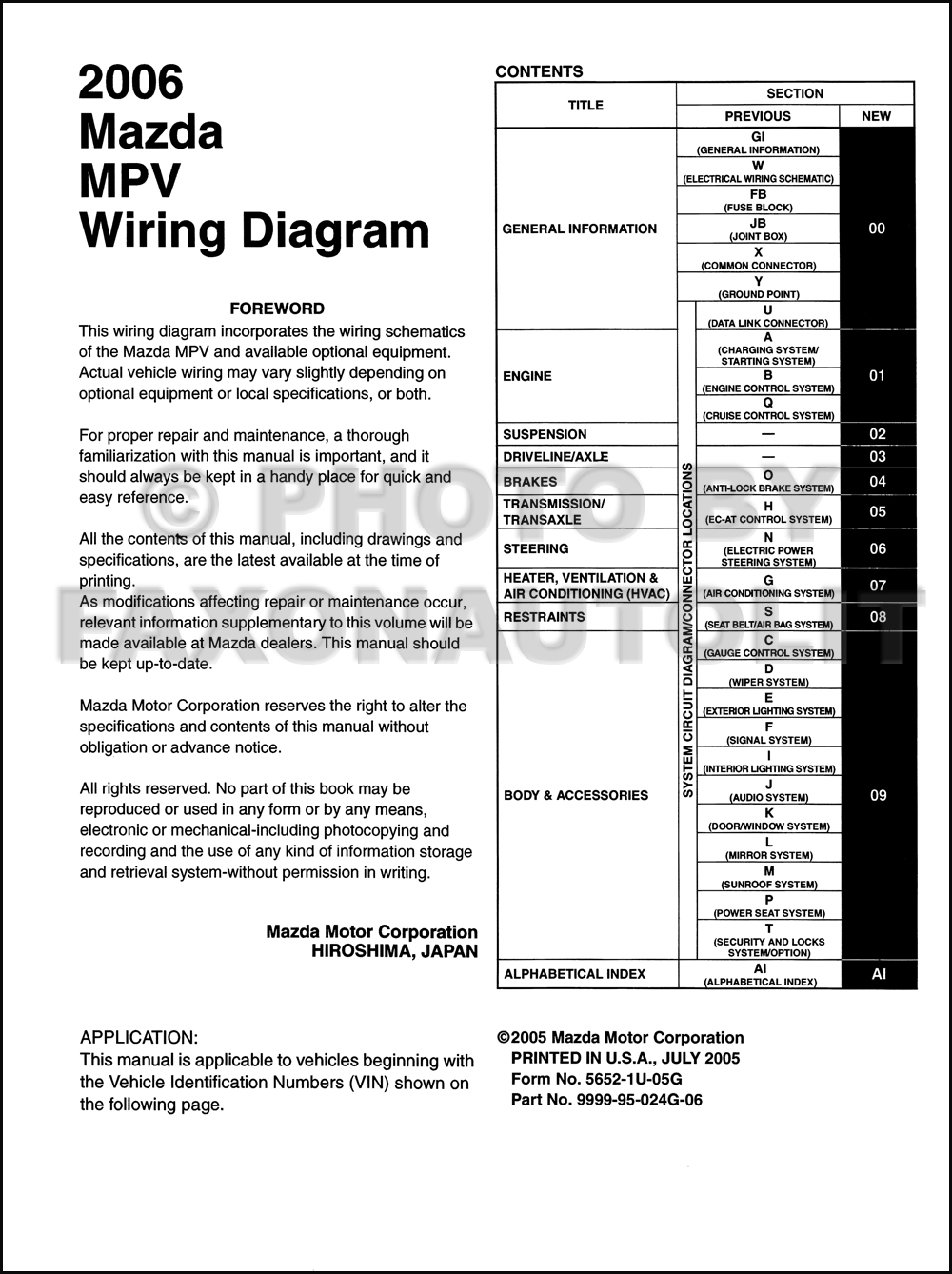 2006 mazda mpv wiring diagram manual original. Black Bedroom Furniture Sets. Home Design Ideas