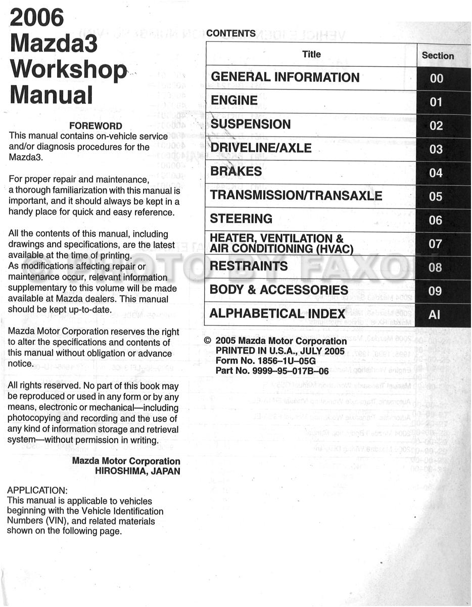 2006 mazda 3 repair manual