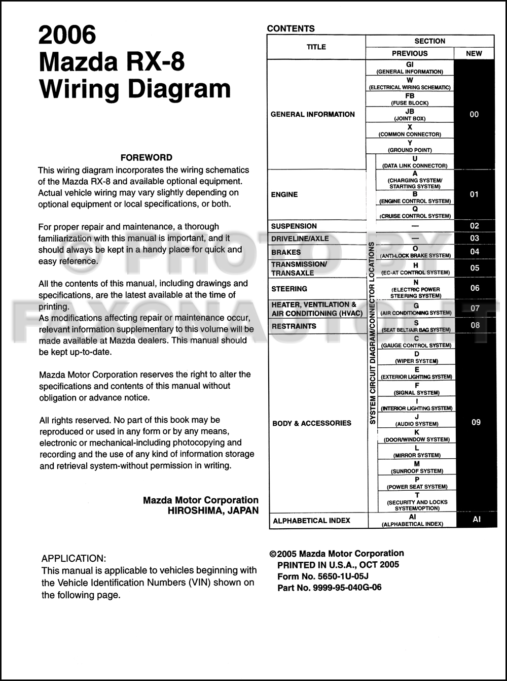 2006 mazda rx 8 wiring diagram manual original rx8. Black Bedroom Furniture Sets. Home Design Ideas