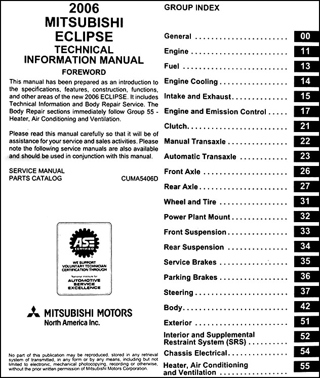 2006 Mitsubishi Eclipse Body Manual Original