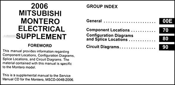 2006 Mitsubishi Montero Wiring Diagram Manual Original