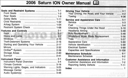 2006 saturn ion owners manual various owner manual guide u2022 rh justk co 2007 Saturn Ion Coupe 2007 Saturn Owner's Manual