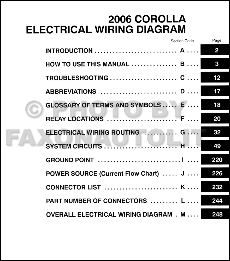 2006 toyota corolla wiring diagram manual original rh faxonautoliterature  com 2005 Toyota Matrix Ignition Diagram 2005