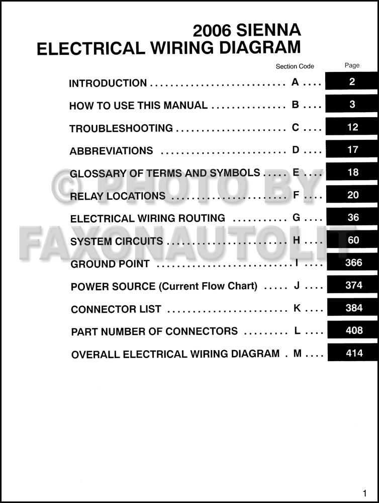 2006 Toyota Sienna Van Wiring Diagram Manual Original