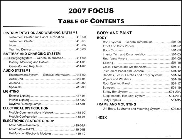 2007FordFocusORM TOC2 2007 ford focus repair shop manual original 2005 ford focus zx4 wiring diagrams at fashall.co