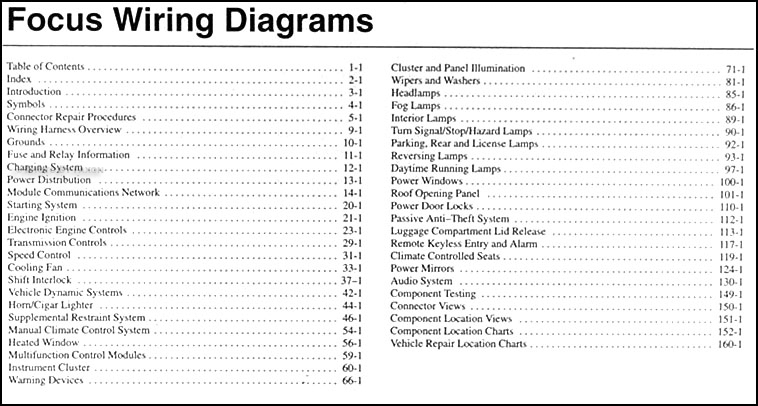 2007FordFocusWD TOC 2007 ford focus wiring diagram manual original 2011 ford focus wiring diagram at n-0.co