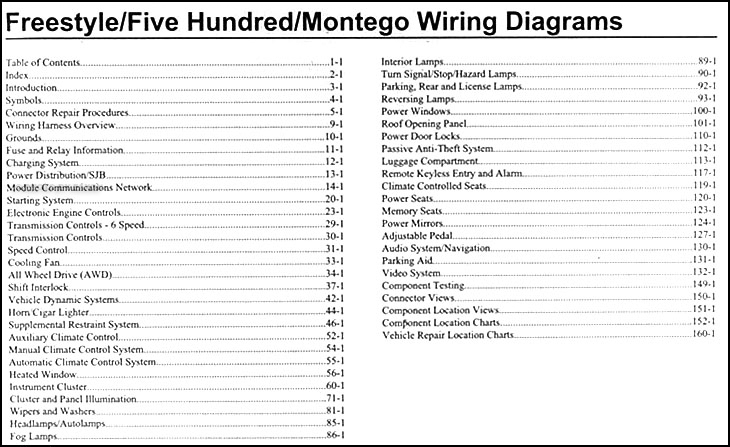 2007FordFreestyleWD TOC ford five hundred fuse box diagram ford wiring diagram instructions 2005 ford 500 wiring diagram at crackthecode.co