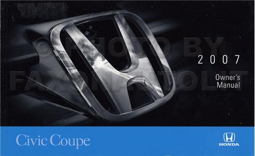 2007 honda civic si coupe owners manual