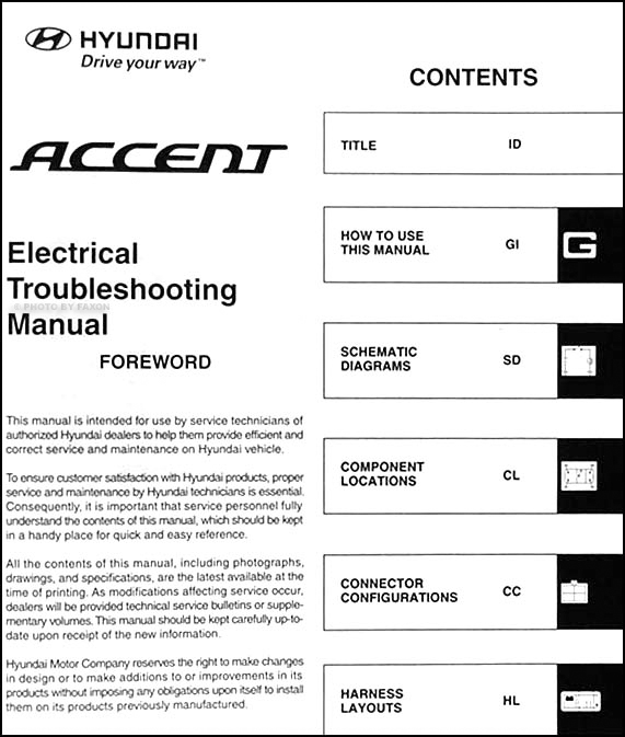 Wiring Diagram Hyundai Accent 1999 : Hyundai accent electrical troubleshooting manual original