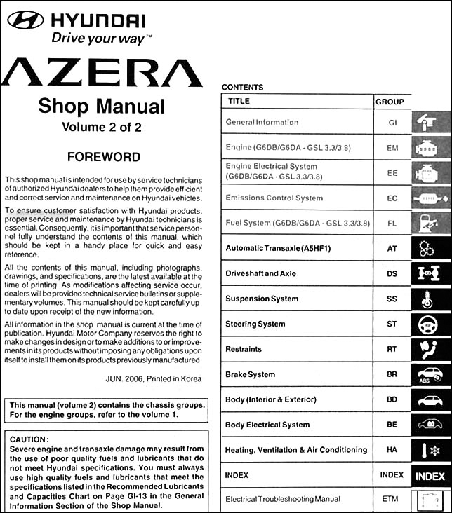 service manual  2007 hyundai azera repair manual free