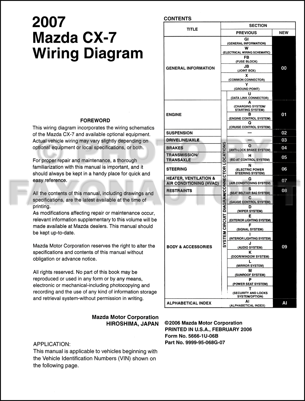 Wiring Diagram For Mazda Cx 7 Portal 2002 Protege5 2007 Manual Original Rh Faxonautoliterature Com 626 Radio